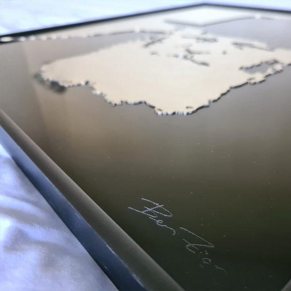 Framed metal artwork of lubavitcher rebbe