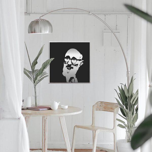 Rav Soleveitchik Metal Portrait in kitchen