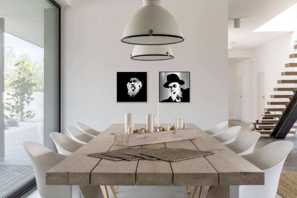 modern table interior with gedolim pictures on the wall