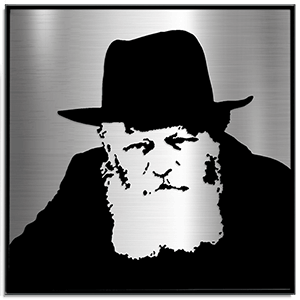 Lubavitcher Rebbe portrait laser cut from stainless steel