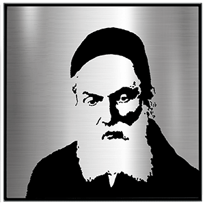 Portrait of the Chofetz Chaim render in stainless steel and acrylic