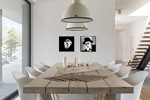 Modern portraits of Jewish Rabbis on modern interior wall