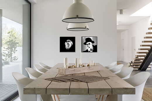 Chason Ish and steipler metal artworks in modern interior