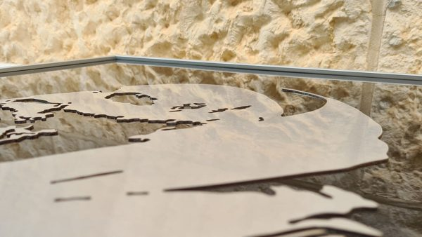 Reflective quality of artwork shown reflicting Jerusalem stone