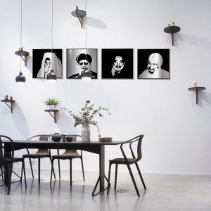 Sephardic chachamim portraits in a modern room
